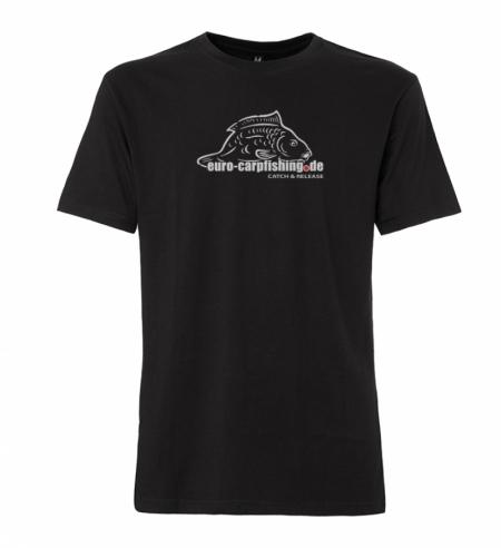 T-Shirt mit Logo Euro-Carpfishing schwarz